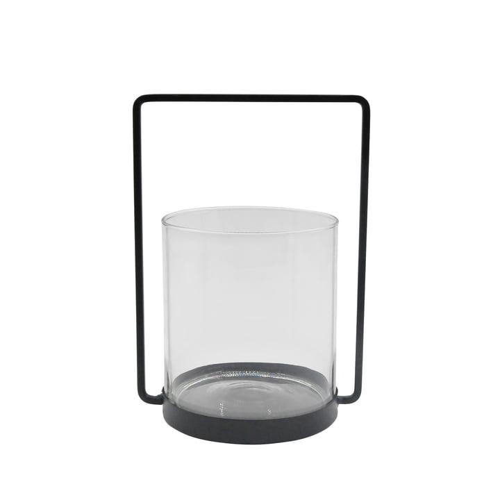 De lantaarn metaal H 26 cm, zwart van de Connox Collection