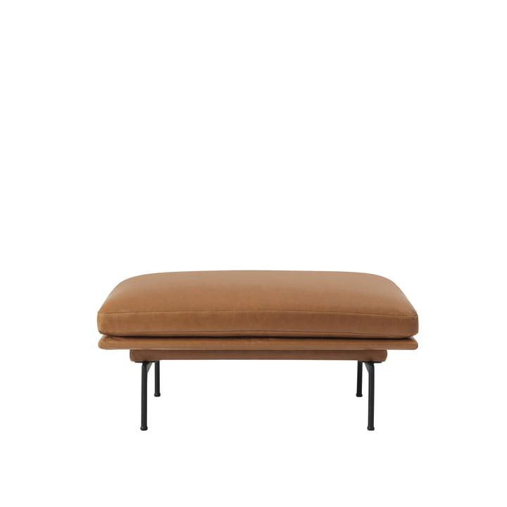 De Outline Sofa Pouf van Muuto met zwarte aluminium poten