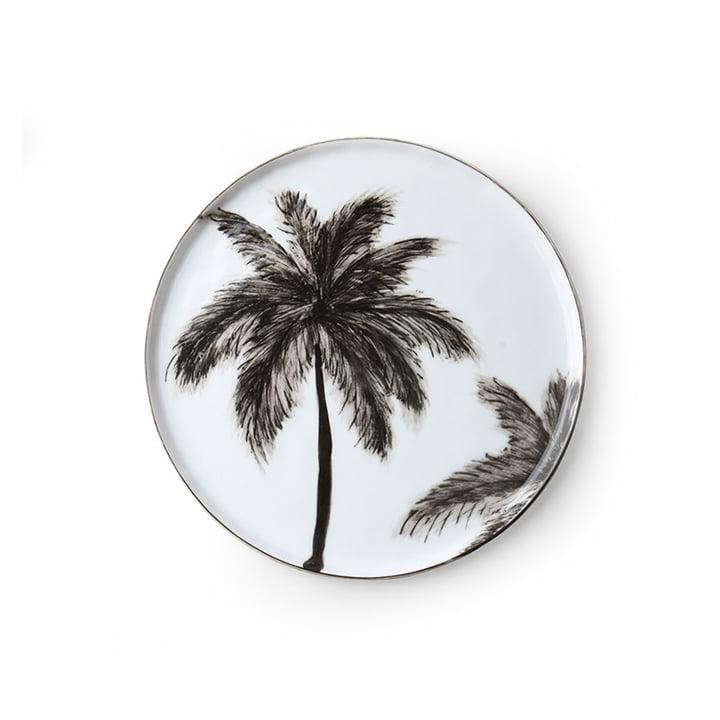 De Bold & Basic Keramisch bord van HKliving , Ø 22 cm, wit / palm motief