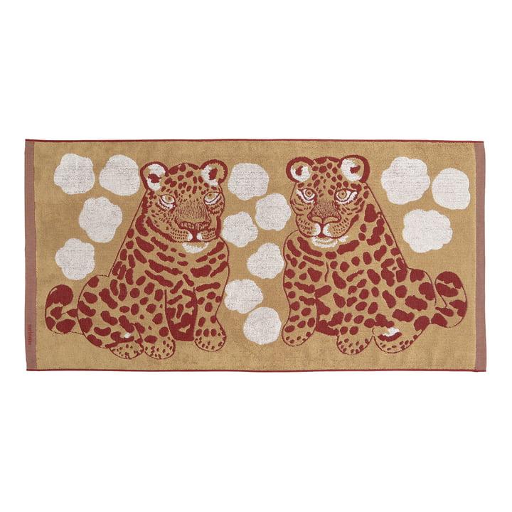 The Kaksoset badhanddoek van Marimekko, 70 x 150 cm, beige / bordeaux (najaar 2021)
