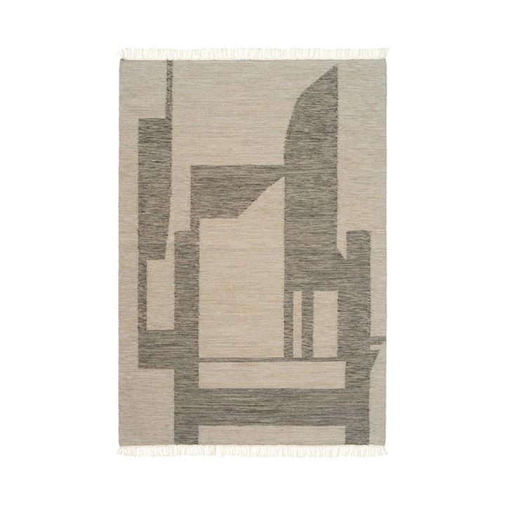 Contemporary Kelim tapijt 140 x 200 cm van Kristina Dam Studio in gebroken wit/grijs