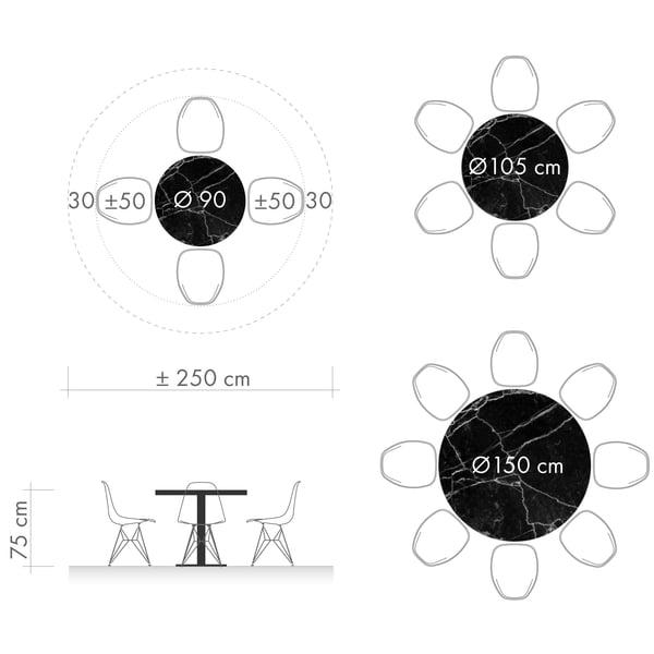 Eettafels grafisch 3 - ronde tafel diameter