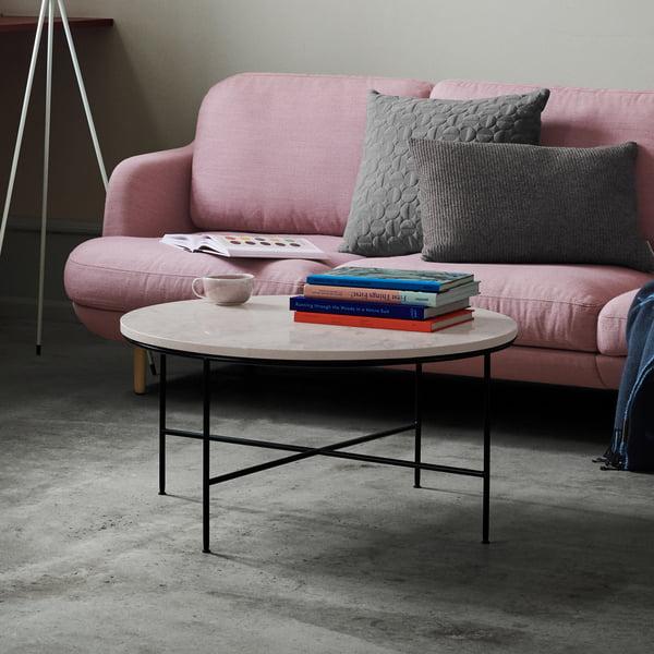 Planner salontafel van Fritz Hansen - Ø 60 x H 40 cm, crèmekleurig marmer blad